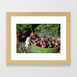 Sun kissed Garden Angel and Begonias Framed Art Print
