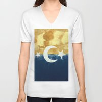 moonrise V-neck T-shirts featuring Moonrise by Abby Snyder