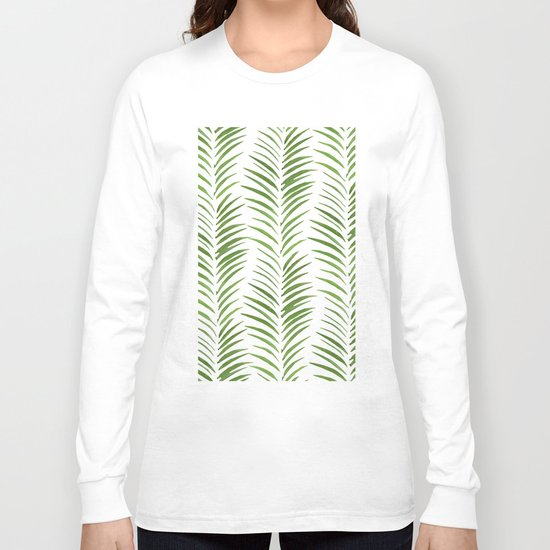 Herringbone Green Nature Pattern Long Sleeve T-shirt