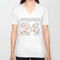 stiles stilinski V-neck T-shirts featuring Stilinski 24 by Indy
