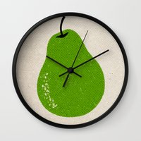 pear Wall Clocks featuring Pear by Roland Lefox