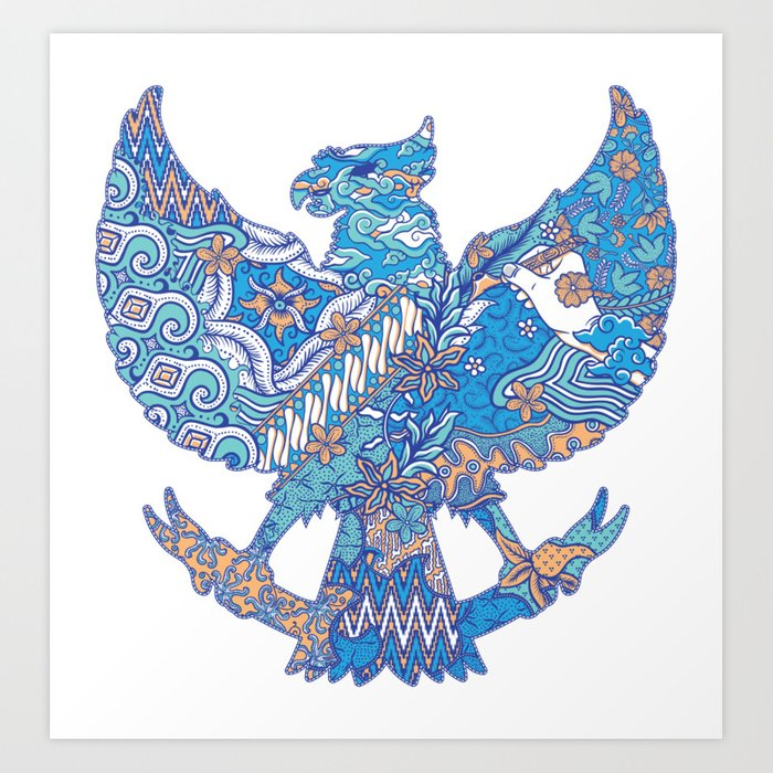 batik culture on garuda silhouette illustration Kunstdrucke
