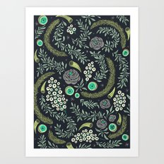 Winter's Eve Floral Art Print