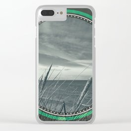 Before the storm - green circle Clear iPhone Case