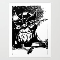 thanos Art Prints featuring Thanos by Brandon Gorski
