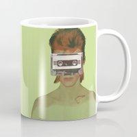 aladdin Mugs featuring Taped Over Aladdin Sane by AudioVisuals