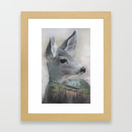 Hiking in the woods Framed Art Print