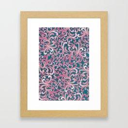 Pink on Green - Paisley Framed Art Print