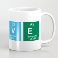 periodic table Mugs featuring Periodic Table of Love Mug by Edward M. Fielding