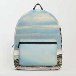 European Sunset | Colorful Costal Clouds Skyline Charming Ocean Town Baby Blue Yellow Tones Backpack