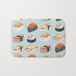 Sushi Persian Cat Watercolor Bath Mat
