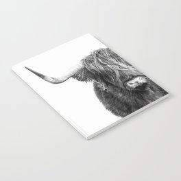 Highland Cow Portrait - Black and White Notebook