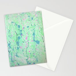 Spring Rain marbleized print Stationery Cards