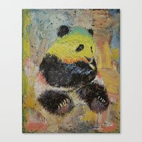 rasta Canvas Prints featuring Rasta Panda by Michael Creese