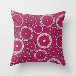 bike wheels pink Throw Pillow