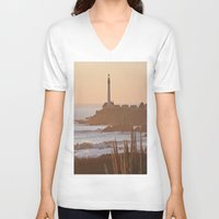 lighthouse V-neck T-shirts featuring Lighthouse by Kim Ramage