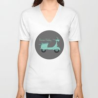 roman V-neck T-shirts featuring Roman Holiday by Halamo