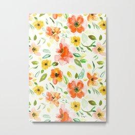 Warm Autumnal Floral Pattern Metal Print