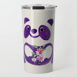 Cute  Purple Panda Bear with flowers Travel Mug