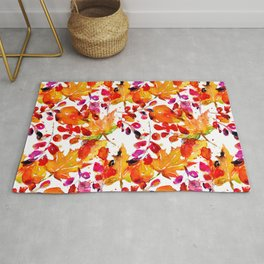 Watercolor autumn leaves Rug