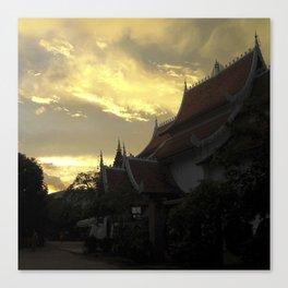 Sunset Wat Thailand Canvas Print