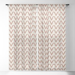 Cavern Clay SW 7701 V Shape Horizontal Lines on Creamy Off White SW7012 Sheer Curtain