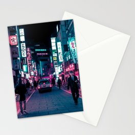 Shimmering Neon Lights of Tokyo Stationery Cards