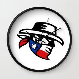 Texas Bandit Cowboy Side Retro Wall Clock