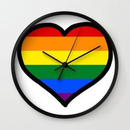 LGBT+ Rainbow Pride Heart Wall Clock