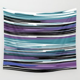 Abstract stripes in blue Wall Tapestry
