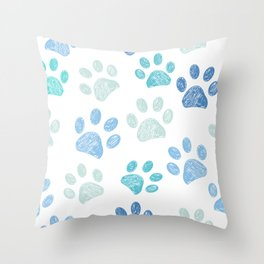 Blue colored paw print background Throw Pillow