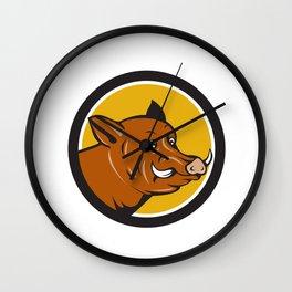 Wild Boar Razorback Head Startled Circle Cartoon Wall Clock