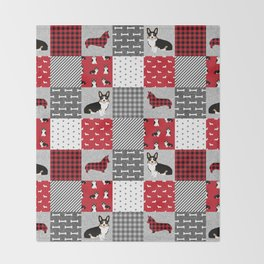 Tricolored Corgi Patchwork - classic buffalo plaid, plaid, dog dad, dog lover, dog design, cute dogs Throw Blanket