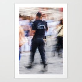 Turkish policeman moving in the crowd Art Print