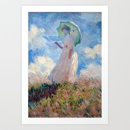 Claude Monet 1886 - Woman with a Parasol/Umbrella facing left Art Print