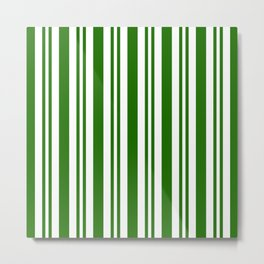 Green and white vertical stripes Metal Print