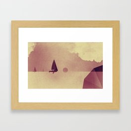 Sailing boats love ocean Framed Art Print