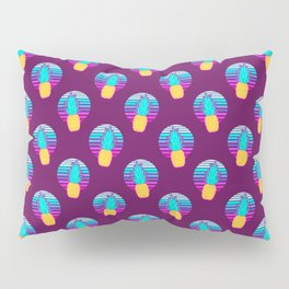 Vaporwave pineapples. Maroon background. Pillow Sham
