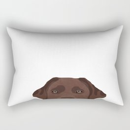 Peeking chocolate labrador dog breed cute dog face labrador retrievers Rectangular Pillow