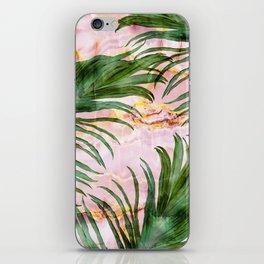 Palm leaf on marble 01 iPhone Skin