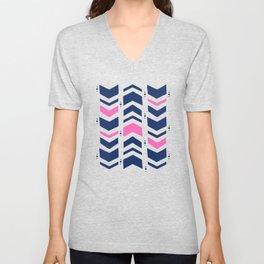 Midnight navy blue hot pink abstract geometric pattern Unisex V-Neck