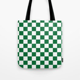 Checkered (Dark Green & White Pattern) Tote Bag