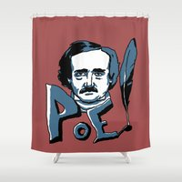 edgar allan poe Shower Curtains featuring Edgar Allan Poe.... Very enthusiastic. by Ken Coleman