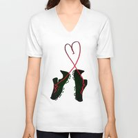 soccer V-neck T-shirts featuring Soccer Love by Leah Flores