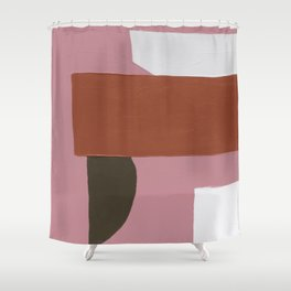 Burnt Sienna & Pink Shower Curtain