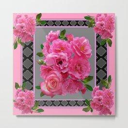 PINK ON PINK ROSE PATTERN GREY ART Metal Print