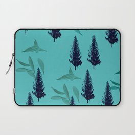 Trees & Leaves On Blue Background Laptop Sleeve