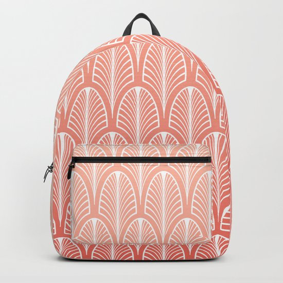 Peach Art Deco Pattern | Blush Pink Art Backpack