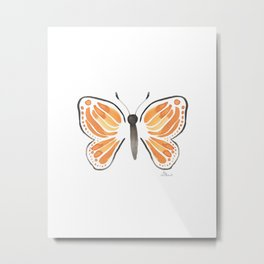 Monarch Butterfly in White Metal Print
