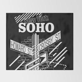 SoHo, New York Streets- white on black Throw Blanket